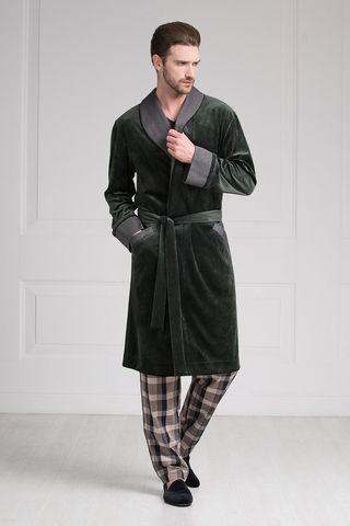 Мужской халат 20287 тёмно-зелёный Laete