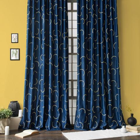 Комплект штор и покрывало Джимми синий