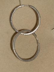 Конго 3,3 см. с куб.циркония (серьги из серебра)