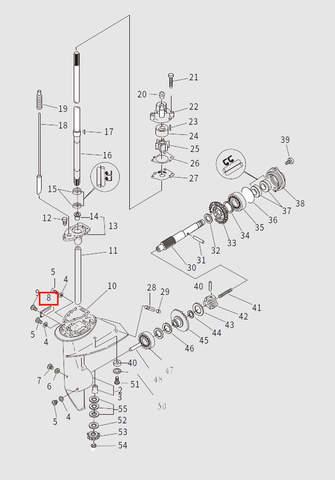 Решетка забора воды для лодочного мотора T9.8 Sea-PRO (13-8)