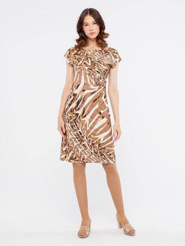 Фото бежевое полуприлегающее платье миди с модным анималистичным принтом - Платье З908-435 (1)