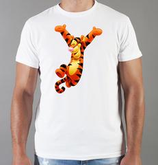 Футболка с принтом мультфильма Винни-Пух, Тигра (Winnie the Pooh) белая 0019