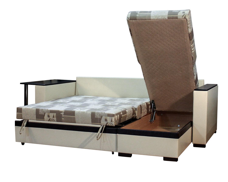 угловой диван-кровать Карелия-Люкс 2д2Я со столом, ящик для белья