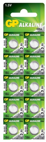 Батарейки GP 186-U10 Alkaline AG 12, LR43