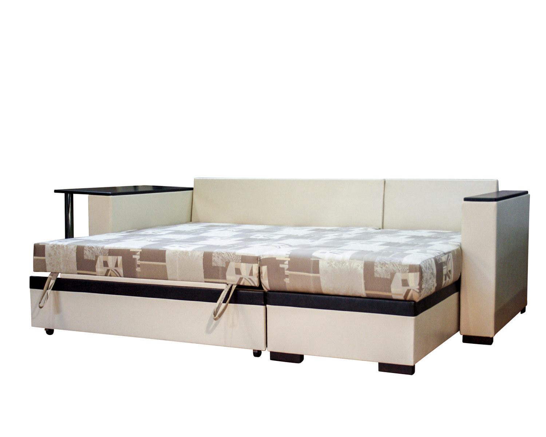 угловой диван-кровать Карелия-Люкс 2д2Я со столом, спальное место 1900х1380 мм, механизм дельфин