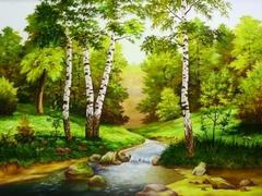 Картина раскраска по номерам 40x50 Ручей между берез