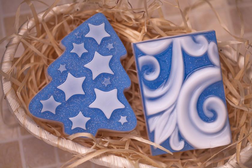 Мыло ручной работы, форма Елка со звездами