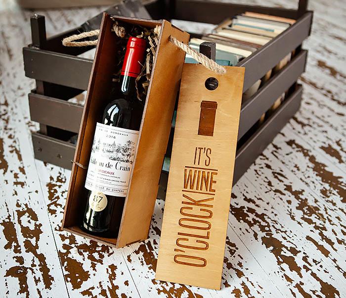 BOX244 Коробка из дерева для бутылки вина (33*10*10,5 см) фото 05