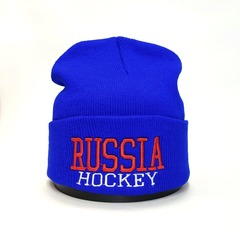 Вязаная шапка Русский хоккей (Russia hockey) голубая