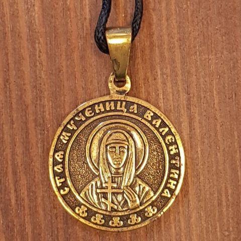 святая Валентина (Алефтина) именная нательная икона из бронзы кулон с молитвой