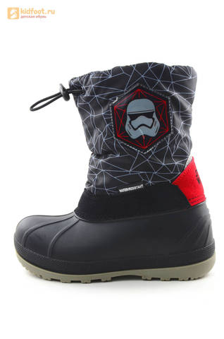 Зимние сапоги для мальчиков непромокаемые с резиновой галошей Звездные войны (Star Wars), цвет черный, Water Resistant. Изображение 3 из 16.