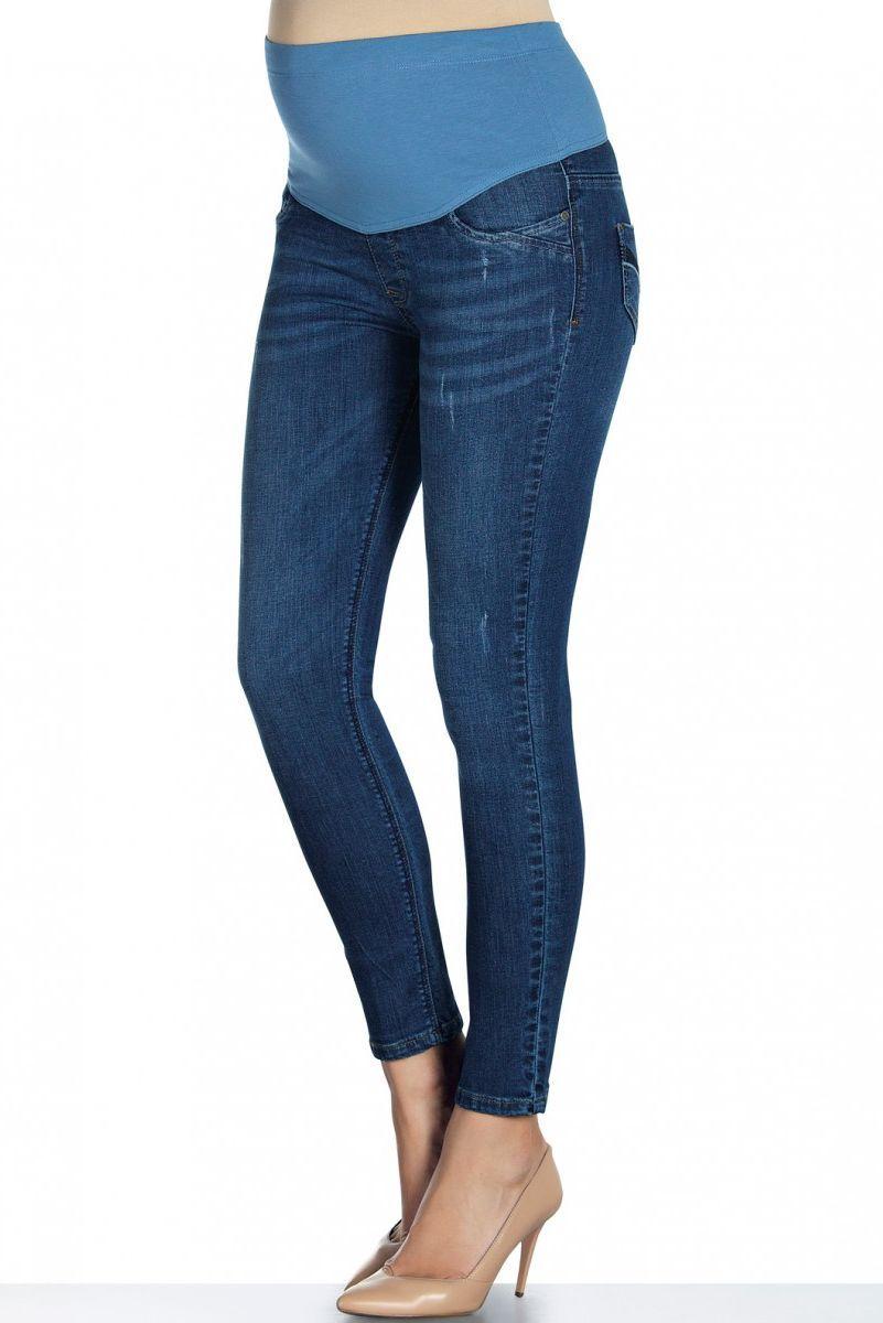 Фото джинсы для беременных EBRU, зауженные, из стрейчевого денима, средняя посадка от магазина СкороМама, голубой, размеры.