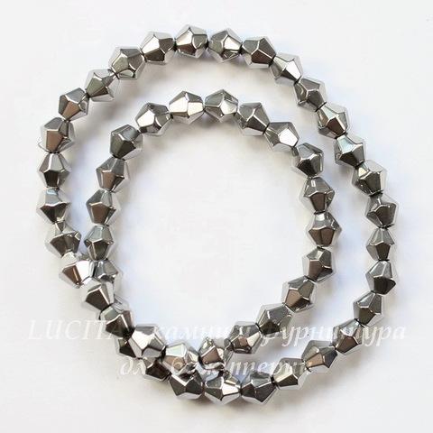 Бусина стеклянная, биконус, цвет - серебряный, 6 мм, нить