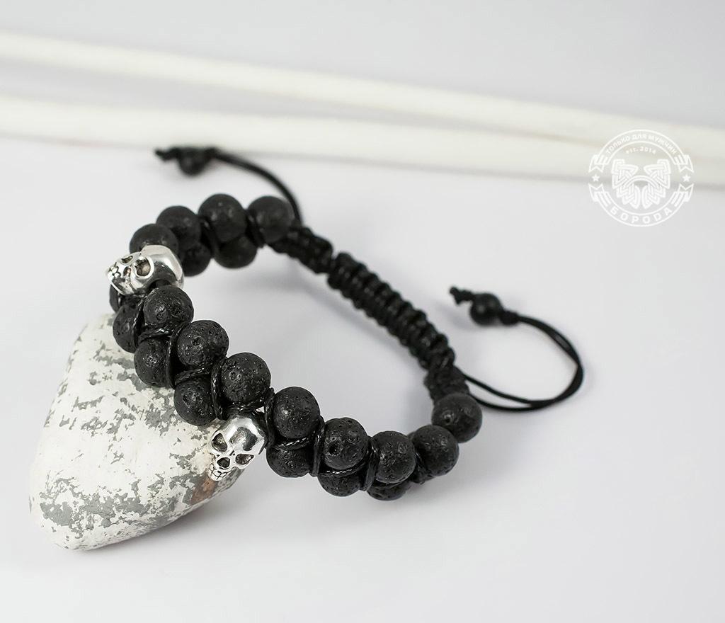 BS604 Мужской браслет шамбала с черепами, вулканическая лава. «Boroda Design»
