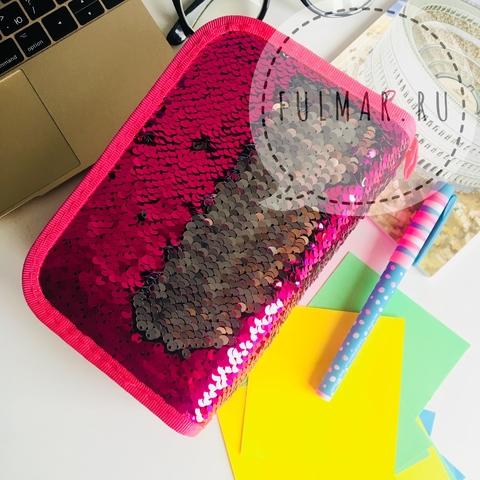 Пенал с пайетками трехсекционный на молнии для девочек меняет цвет Малиновый-Серебристый