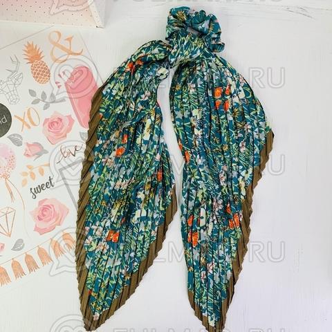Плиссированный платок с резинкой модный аксессуар для волос Поляна цветов (цвет: бирюзовый)