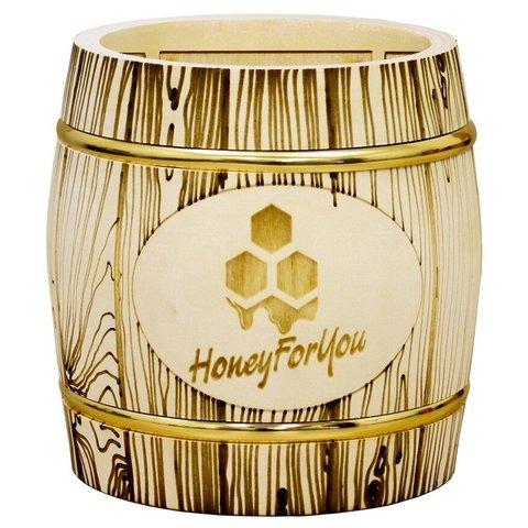 Деревянный бочонок с липовым мёдом HoneyForYou, 1 кг