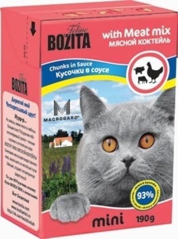 BOZITA MINI Tetra Pak консервы для кошек кусочки в соусе мясной микс 190 г