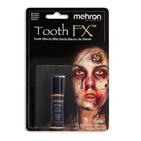 MEHRON Краска для зубов Tooth FX with Brush for Special Effects - Nicotine, (Никотин), 4 мл