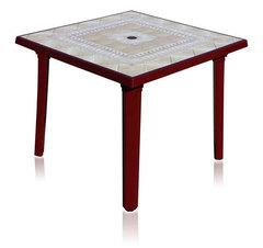 Пластиковый квадратный стол с рисунком бордовый