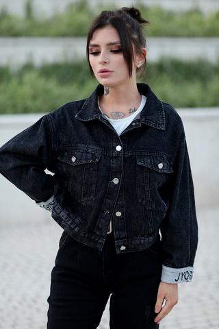 Черная джинсовая куртка оверсайз nadya