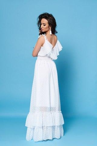 Длинное шифоновое платье с воланами, белое 1