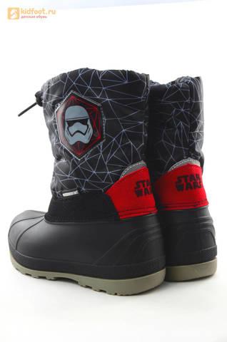 Зимние сапоги для мальчиков непромокаемые с резиновой галошей Звездные войны (Star Wars), цвет черный, Water Resistant. Изображение 7 из 16.