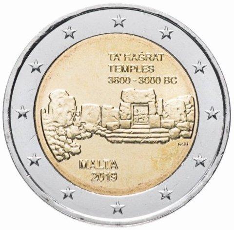 2 евро Доисторический комплекс -Та Хаджрат. Мальта. 2019 год