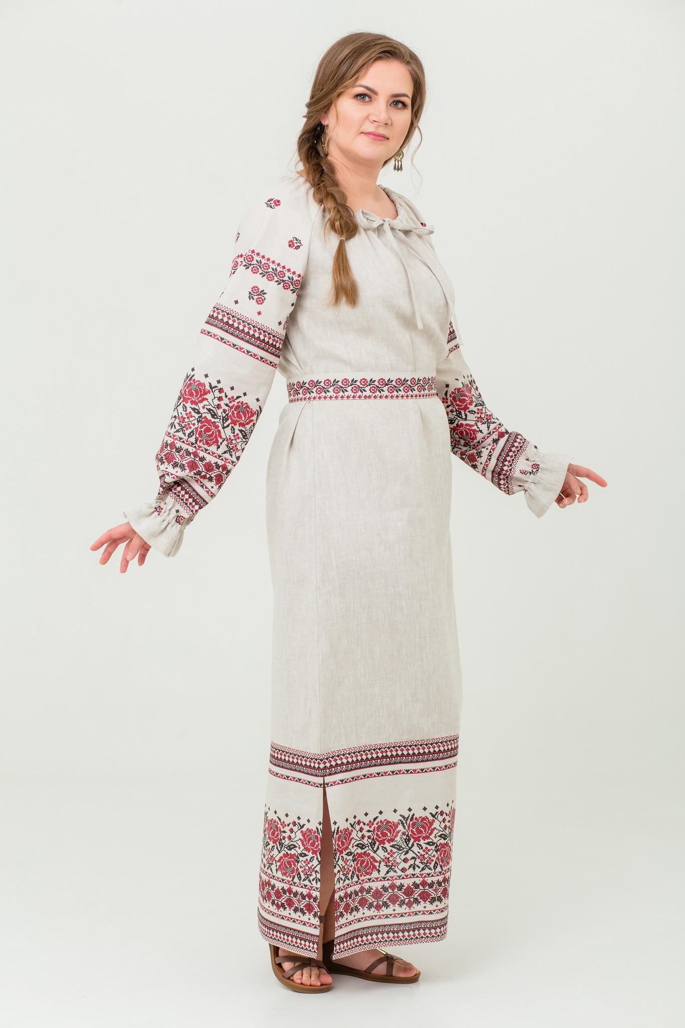 платье Женское счастье на небелёном в русском стиле