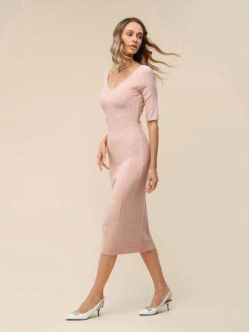 Женское платье светло-розового цвета из вискозы - фото 4