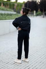 Черная джинсовая куртка оверсайз оптом