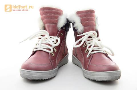 Зимние ботинки для девочек из натуральной кожи на меху Лель на молнии и шнурках, цвет ириc. Изображение 3 из 13.