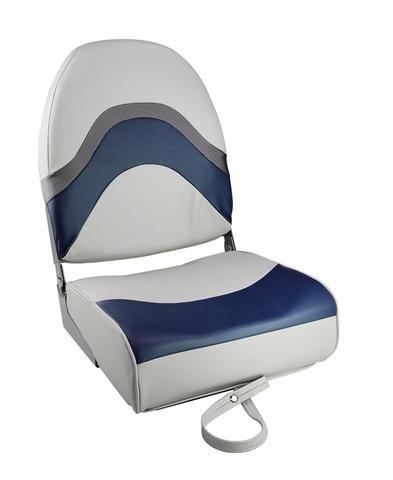 Сиденье мягкое складное PREMIUM WAVE, серо-синее