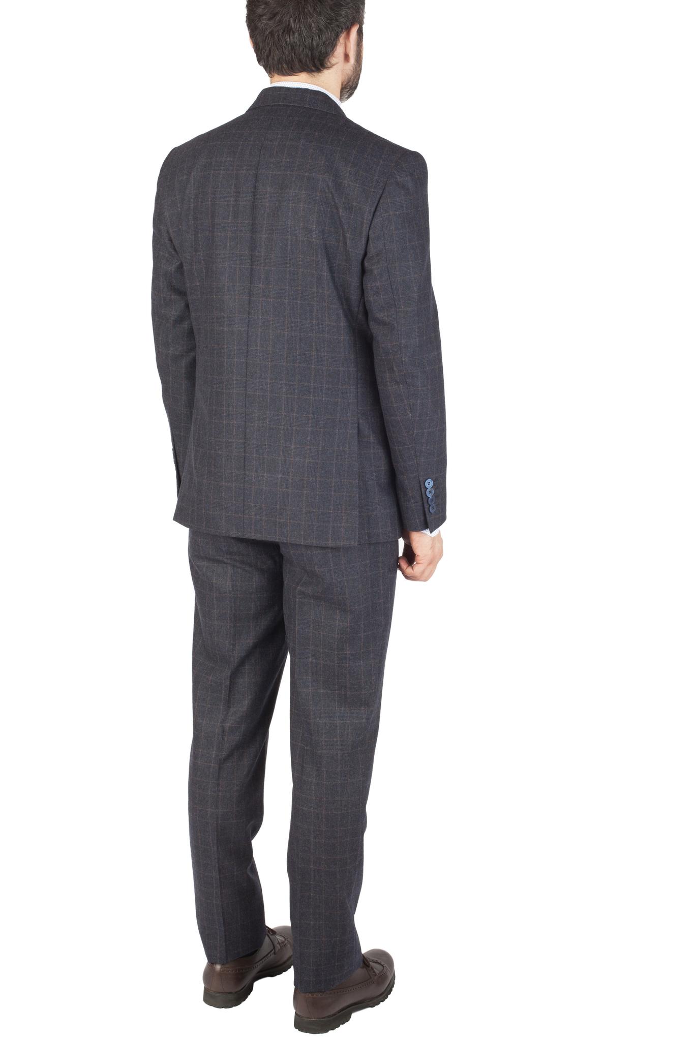Тёмно-синий костюм в клетку из 100%-ной шерсти