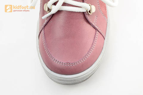 Зимние ботинки для девочек из натуральной кожи на меху Лель на молнии и шнурках, цвет ириc. Изображение 8 из 13.