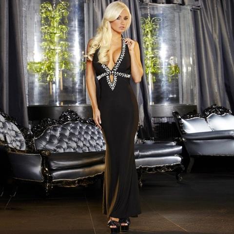 Вечернее черное платье в пол от Hustler - Hustler Lingerie GOWN1