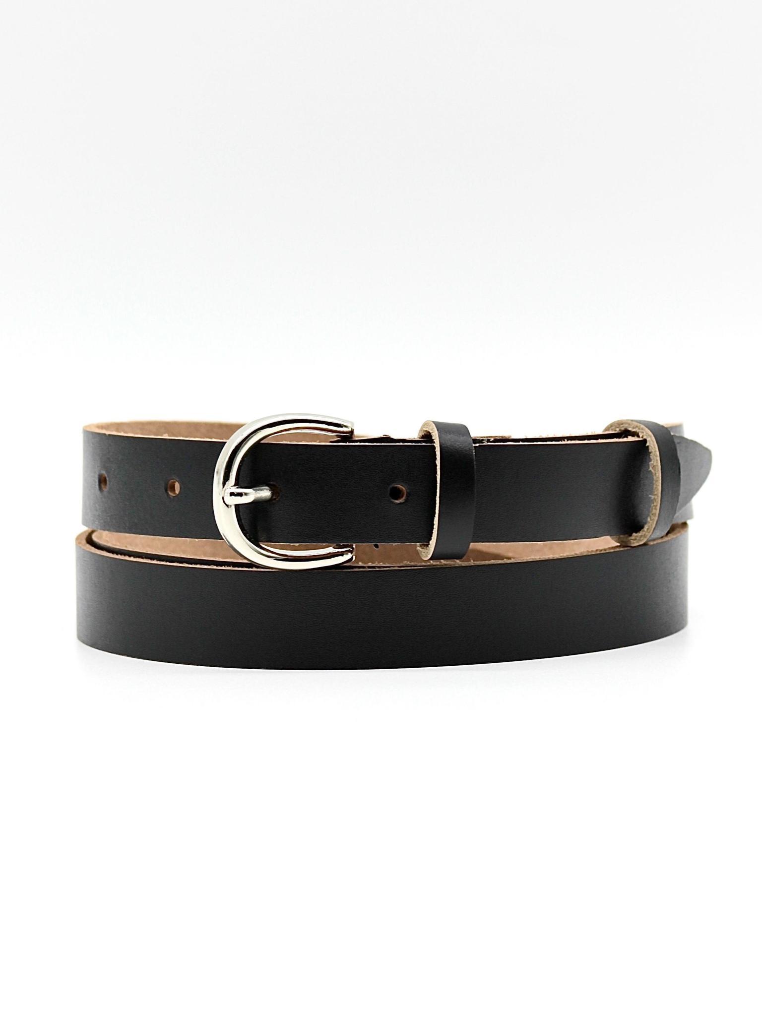 Женский кожаный чёрный ремень 20 мм Coscet WWW20-1-6