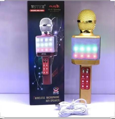 Микрофон караоке оригинал Wster WS-1828 Золот