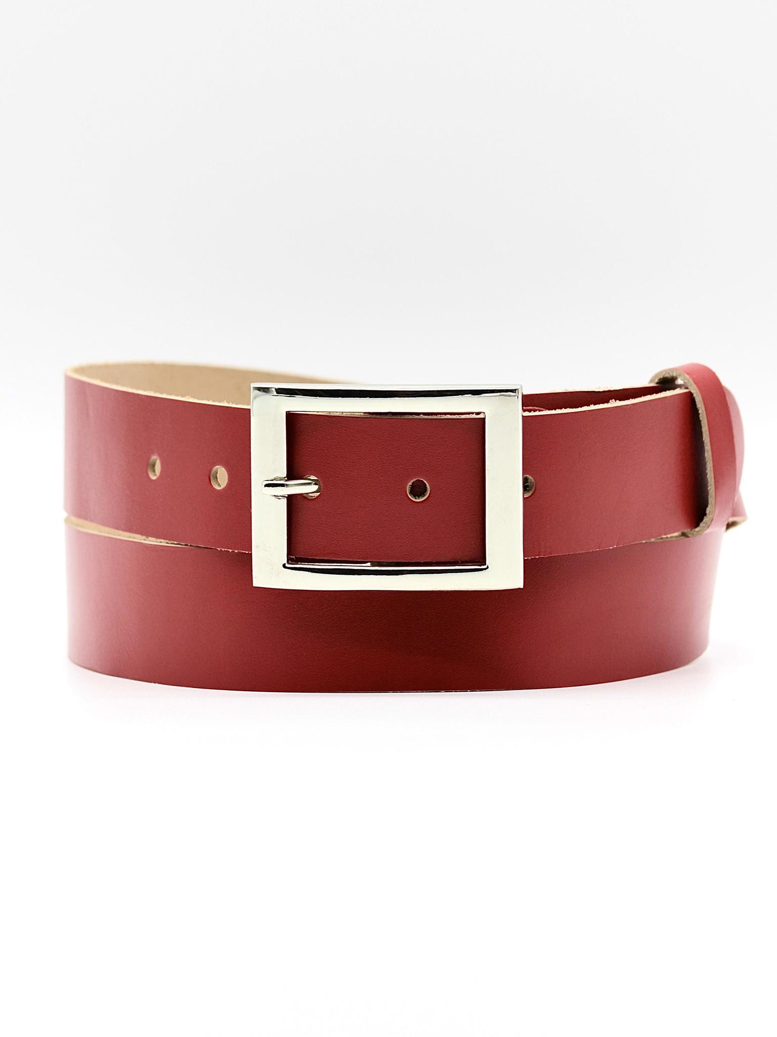 Женский кожаный красный ремень 35 мм Coscet WW35-1-2