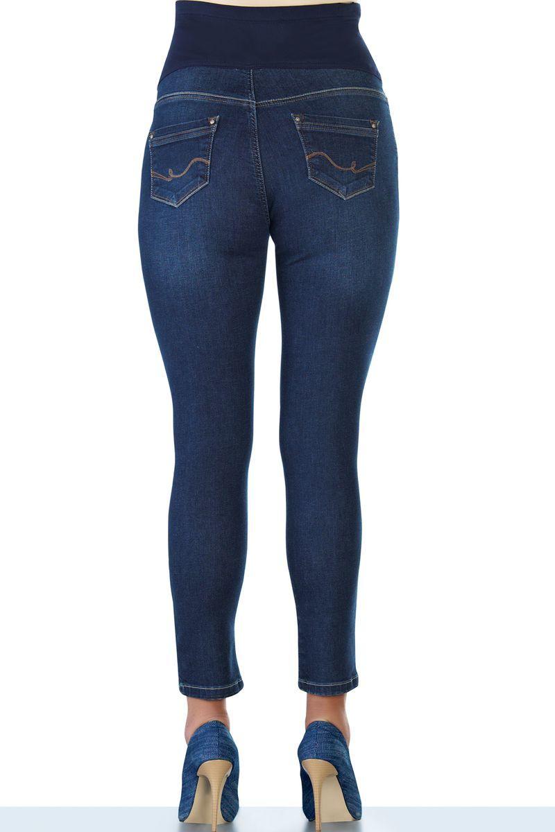 Фото джинсы для беременных EBRU, зауженные, укороченного кроя, высокая вставка от магазина СкороМама, синий, размеры.