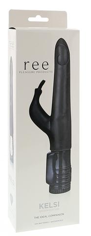 Чёрный вибратор с клиторальным стимулятором Kelsi - 18,5 см.