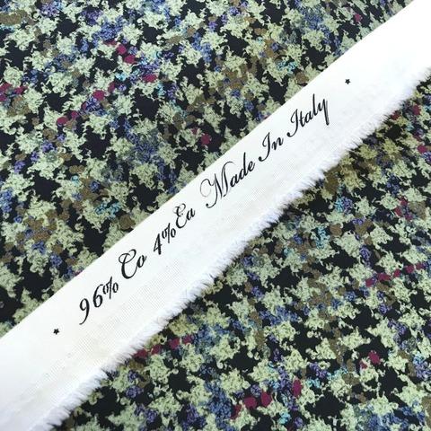 Ткань хлопок плотный с эластаном гусиная лапка хаки 2104