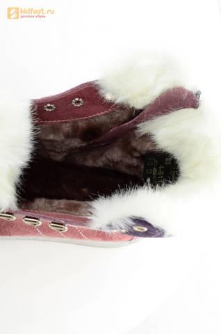 Зимние ботинки для девочек из натуральной кожи на меху Лель на молнии и шнурках, цвет ириc. Изображение 13 из 13.
