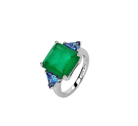 47446- Кольцо из серебра с изумрудными кварцем в форме квадрата