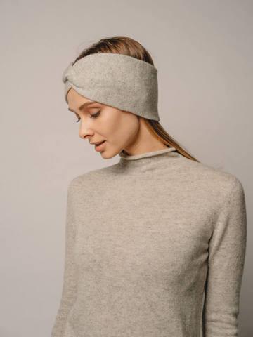 Женская повязка на голову цвета серый меланж из кашемира - фото 4