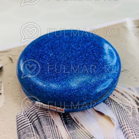 Зеркало складное карманное French macarons с блёстками Синее