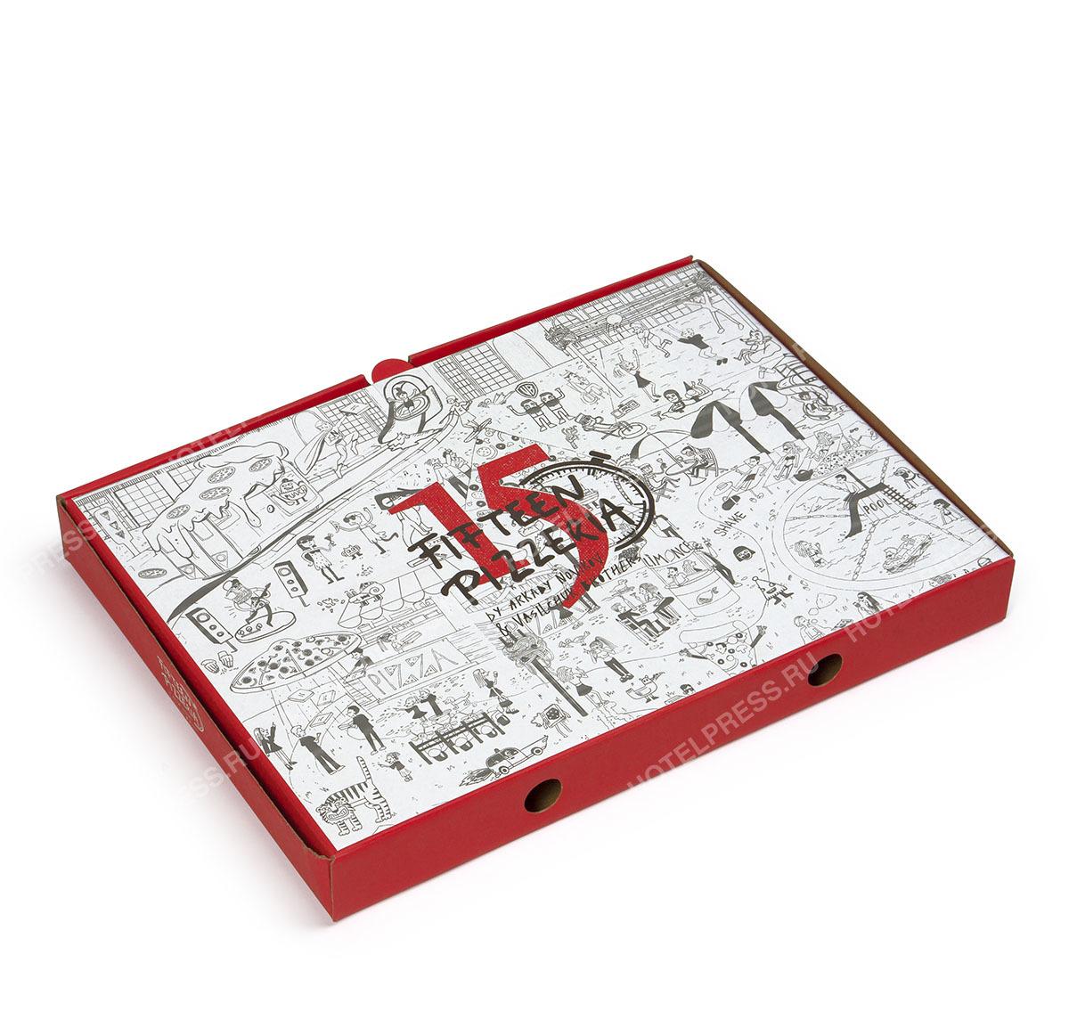Коробка для пиццы ресторана Fifteen Pizzeria
