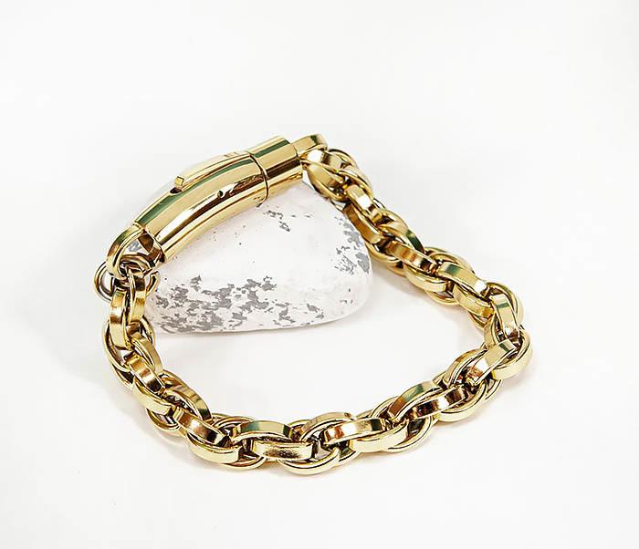 BM539-2 Крупный браслет цепь из стали золотистого цвета