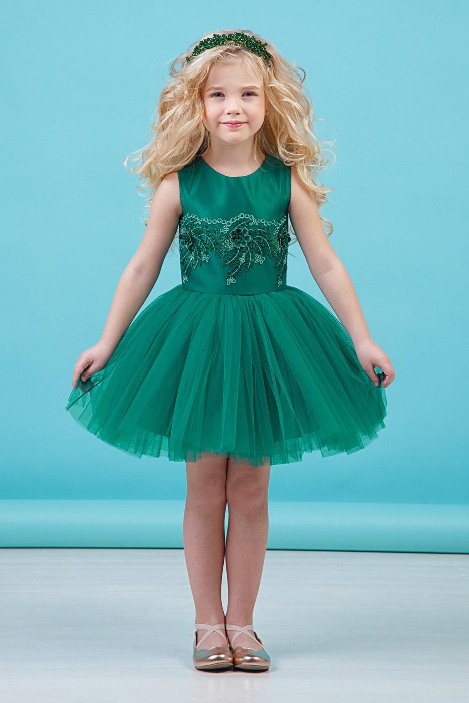Платье зеленое для девочки 38-9001-5
