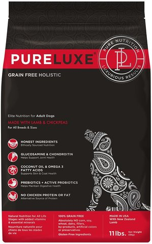 PureLuxe Elite Nutrition for adult dogs with lamb & chickpeas